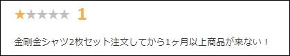 金剛筋シャツの楽天レビュー★1